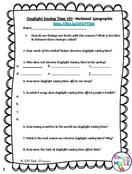 Daylight Saving Time 101 NO PREP Nonfiction Video/Comprehension Activity