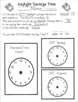 Daylight Saving Time Activity: Ready to Fall Back!