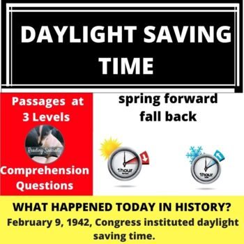 Daylight Saving Time Differentiated Reading Passage Feb 9
