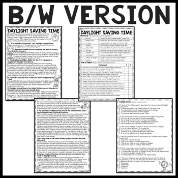 daylight saving time history reading comprehension worksheet spring fall. Black Bedroom Furniture Sets. Home Design Ideas