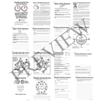 Daylight Saving Time No Prep Activity Packet Printable Worksheets