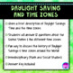 Daylight Saving Time & US Time Zones Math & Social Studies Activity