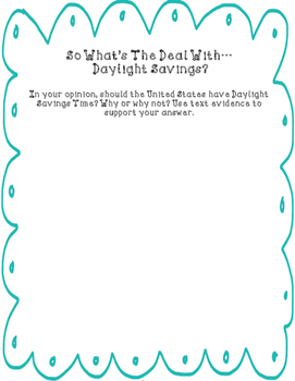 Daylight Savings Time Passage with Questions and Writing Response FREEBIE!