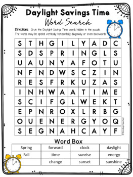 Daylight Savings Time Word Search * Reproducible