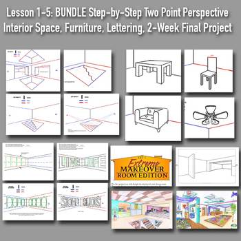 Lessons 1-5 Bundle: Persp Drawing Boot Camp: Step-by-Step PPTS w/Handouts