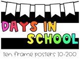 Days In School Ten Frame Set | Bright Colors + Black and White Stripes
