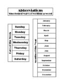 Days & Months Abbreviations Interactive Notebook