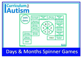 Days Months Calendar Skills Game Autism Special Education