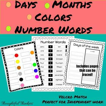 Morning Binder: Days/ Months/ Color/ and Number Words Matching Activity