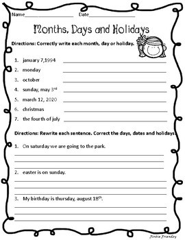 Days, Months & Holidays Practice