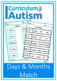 Days Months Matching Autism Special Education