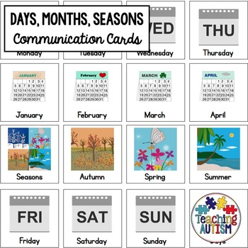 Days, Months, Seasons Symbol Communication Cards - Autism