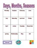 Days, Months, Seasons in English Bingo