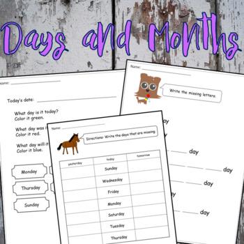 Days & Months Worksheets & Flashcards (English & Spanish)