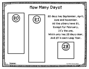 Days, Months and Seasons Activities