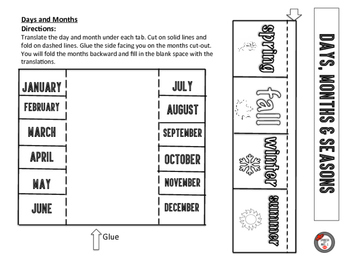 Days, Months and Seasons: Spanish Interactive Notebook Page