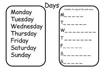 Days, Months and Seasons Worksheets and activities