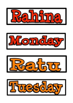 Days / Months in Te Reo (Labels)