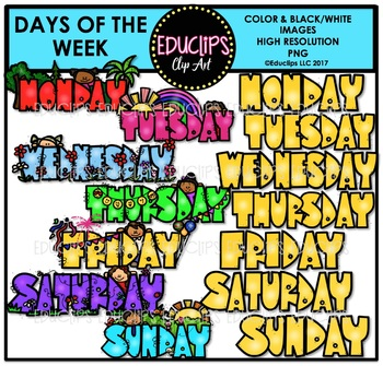 Days Of The Week Clip Art Bundle {Educlips Clipart}