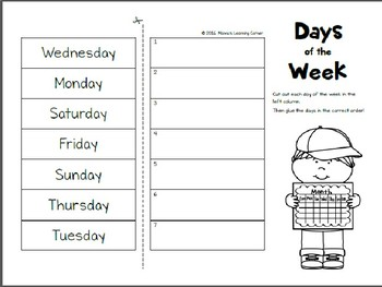 Days Of The Week Cut And Paste By Monica S Activities Tpt