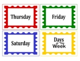 Days Of The Week Flashcards and Rainbow Chart For Kinderga