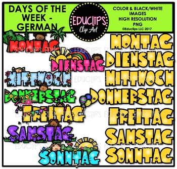 Days Of The Week - GERMAN -  Clip Art Bundle {Educlips Clipart}
