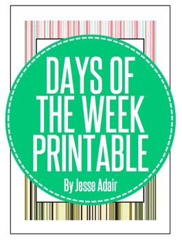 Days Of The Week Printable FREEBIE
