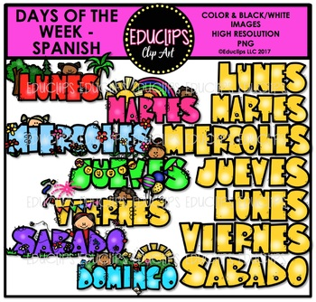 Days Of The Week  - SPANISH - Clip Art Bundle {Educlips Clipart}