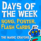 Days Of The Week Song, 9 Flash Cards and Poster pack from