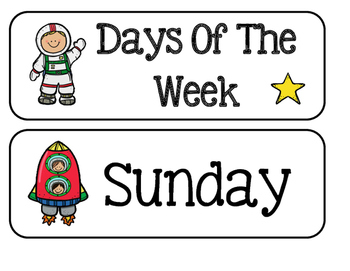 Days Of The Week - Space Theme