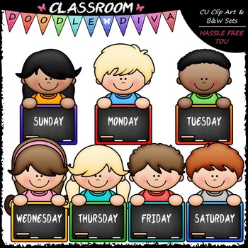 Days Of The Week Topper Kids Clip Art - Back To School Clip Art & B&W Set