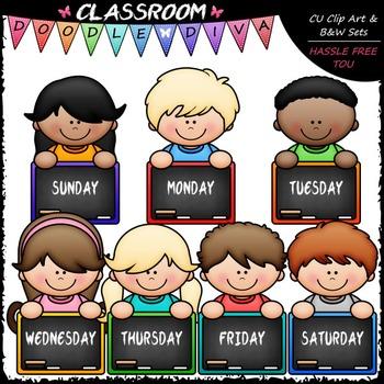 Days Of The Week Topper Kids Clip Art - Back To School ... (350 x 350 Pixel)