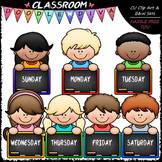 Days Of The Week Topper Kids Clip Art - Back To School Cli