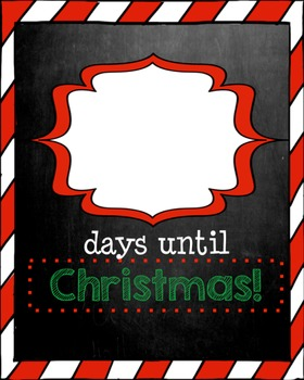 Until Christmas.Days Until Christmas Chalkboard Edition Christmas Countdown