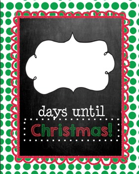 Days Till Christmas Chalkboard.Days Until Christmas Chalkboard Edition Christmas Countdown
