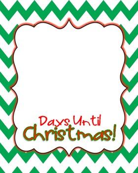 Days Until Christmas Printable