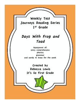 Days With Frog and Toad Journeys Assessment