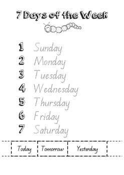 Days a week tracing