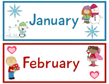 Days and Month Cards for Classroom Calendar for Pre-k and
