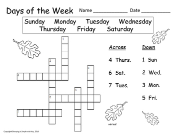 Days and Months Activity Sheets