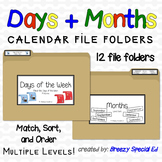 Days and Months {Calendar Skills} File Folders for Special