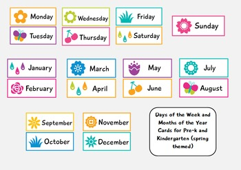Days and Months Cards for Pre-k and Kindergarten (spring themed)