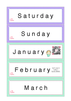 Days and Months Flash Cards (linked to FREE Audio Recordings)