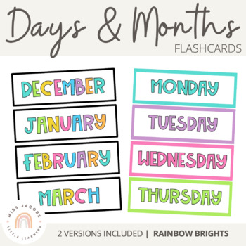 Days and Months Flashcards {Rainbow Classroom Decor}