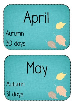 Days and Months - Math Poster Display: Days, Months, Seasons