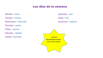 Days and Months Notes and Practice - Spanish
