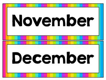 Days and Months Poster Set ~ Rainbow Brights