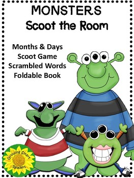 Monster Days and Months Scoot and Scrambled Words Activity