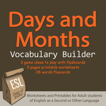 Days and Months Vocabulary Worksheets for Adult ESL