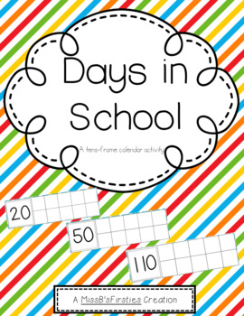 Days in School- Calendar Ten Frames (Primary-Color Diagonal Lines)